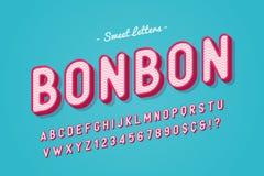 För godisstilsort för vektor söt design, alfabet, stilsort, bokstäver och vektor illustrationer