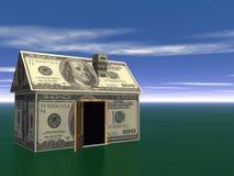 för godshuset för begreppet 3d verkliga pengar framför Royaltyfri Bild