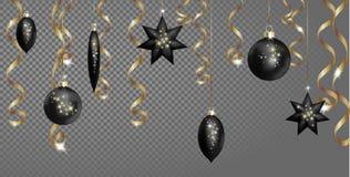 För gränsbaner för jul sömlös mall Slingrande banderoll för svart för bollgranleksaker gnistrande för stjärna guld- Tree för nytt vektor illustrationer