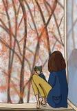 för gräsgreen för höst även väder för sikt för leaves orange tyst Flickan sitter på fönstret Royaltyfri Bild