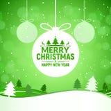 För gräsplanhälsning för 2018 jul och för lyckligt nytt år bakgrund för kort Xmas-boll på design för vinterlandskapgarnering royaltyfri illustrationer