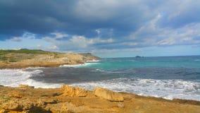För gräsplanstrand för blått vatten trä Mallorca Royaltyfri Foto
