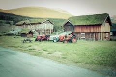 För grästak för norrman typisk hus för land arkivbild