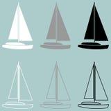 För grå färgsvart för yacht vit symbol stock illustrationer