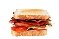 för grönsallatsmörgås för bacon klubba isolerad tomat Royaltyfri Fotografi