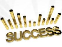 För grafbegrepp för framgång guld- bild Arkivfoto