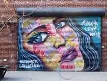 för grafittigata för konst färgrik räknad vägg Arkivbilder