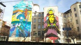 för grafittigata för konst färgrik räknad vägg Arkivbild