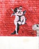 för grafittigata för konst färgrik räknad vägg royaltyfri fotografi
