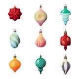 för gran-träd för nytt år 2017 struntsak för form exponeringsglas olik Glad jul eller xmas-helgdagsaftonrunda och stjärna, istapp royaltyfri illustrationer