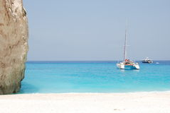 för greece för strand blått hav zakynthos för navagio ö Arkivbild