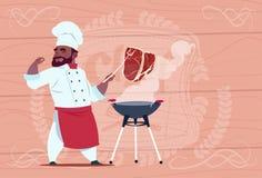 För Grill Meat On för afrikansk amerikankockkock chef för restaurang för tecknad film Bbq i den vita likformign över trätexturera stock illustrationer