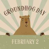 För Groundhog för gammal stil för tecknad film illustration dag Royaltyfria Bilder