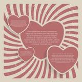 För Grungebakgrund för abstrakt hjärta Retro illustration för vektor Arkivfoto