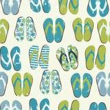 För Grungebakgrund för strand sömlös Retro witj Flip Flops vektor illustrationer