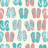 För Grungebakgrund för strand sömlös Retro witj Flip Flops stock illustrationer
