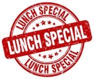 För grungerunda för lunch special röd stämpel för tappning royaltyfri illustrationer