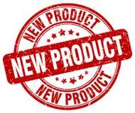 För grungerunda för ny produkt röd stämpel för tappning Arkivfoto
