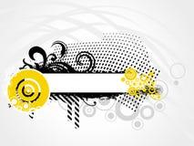 för grungeställe för baner din blom- text Arkivfoto