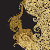 för grungevektor för closeup dekorativ kvinna för tappning Royaltyfri Foto