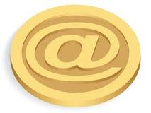 för guldpost för mynt e tecken Arkivfoton