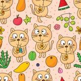 För gullig sömlös modell drinkfrukt för katt royaltyfri illustrationer