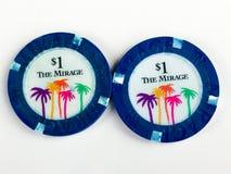 För hägringkasino $1 för tappning 2 chiper för poker Royaltyfri Foto
