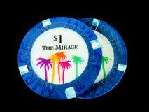 För hägringkasino $1 för tappning 2 chiper för poker Royaltyfria Foton