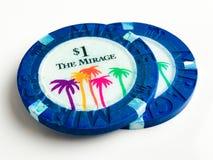 För hägringkasino $1 för tappning 2 chiper för poker Royaltyfria Bilder