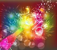 För för hälsningkort 2018 eller affisch för lyckligt nytt år design med färgrik triangelchampagneexplosion Royaltyfria Bilder