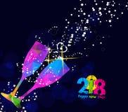 För för hälsningkort 2018 eller affisch för lyckligt nytt år design med färgrikt triangelexponeringsglas Fotografering för Bildbyråer