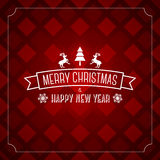 För hälsningkort för glad jul mall - röd modell Arkivfoton