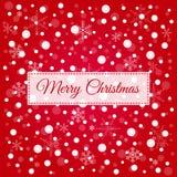 För hälsningkort för glad jul vektor, röd bakgrund med vit Arkivfoto