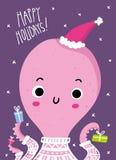 För hälsningkort för gullig jul och för nytt år design med rolig octo royaltyfri illustrationer