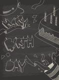 För hälsningkort för lycklig födelsedag design i tappningstil med chalkb Arkivbild
