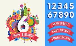 För hälsningkort för lycklig födelsedag mall för uppsättning för nummer vektor illustrationer