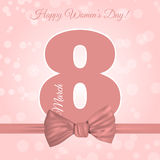 8 för hälsningkort för mars backgro för dag för ` s för kvinnor för mall internationell Royaltyfri Bild