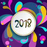 För hälsningkort för nytt år mall 2018 För formkrullning för rörelse dynamisk design Vitt nummer för färgrik geometrisk bakgrund  royaltyfri illustrationer