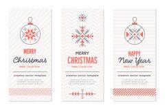 För hälsningkort för nytt år och julmallar med ferietecken vektor illustrationer