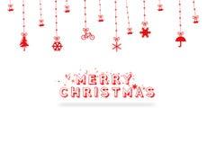 För hälsningkort för glad jul design, illustration Arkivbild