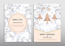 För hälsningkort för glad jul och för lyckligt nytt år mall för design stock illustrationer