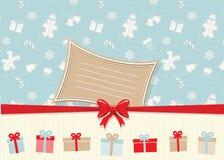 För hälsningkort för jul och för lyckligt nytt år mall med stället för din text Trevliga designbeståndsdelar för dina bäst idérik stock illustrationer