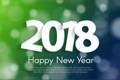 För hälsningkort för lyckligt nytt år begrepp 2018 med papper cuted vitnummer Arkivfoto