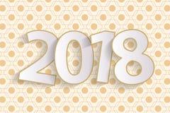 För hälsningkort för lyckligt nytt år begrepp 2018 med papper cuted vitnummer Royaltyfria Foton