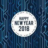 För hälsningkort för lyckligt nytt år linje 2018 för strömkrets för blått futuristisk konststil Arkivfoto