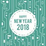 För hälsningkort för lyckligt nytt år linje 2018 för strömkrets futuristisk konststil Royaltyfria Bilder