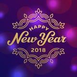 För hälsningkort för lyckligt nytt år 2017 märka design Arkivfoton