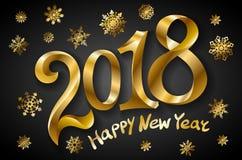 För hälsningkort för lyckligt nytt år mall 2018 för design med guld- text på svart bakgrund också vektor för coreldrawillustratio Vektor Illustrationer