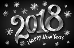 För hälsningkort för lyckligt nytt år mall 2018 för design med silvertext på svart bakgrund också vektor för coreldrawillustratio Royaltyfri Illustrationer