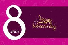 8 för hälsningkort för mars mall med rosa bakgrund Internationell bakgrund eller broschyr för dag för kvinna` s Arkivbilder